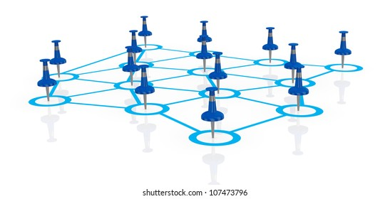 business network with pins instead of men (3d render)