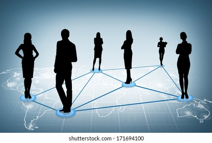 business and networking concept - social or business network