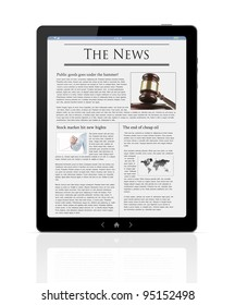 Business news at digital PC tablet isolated on white