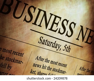 Business news in an old grungy newspaper