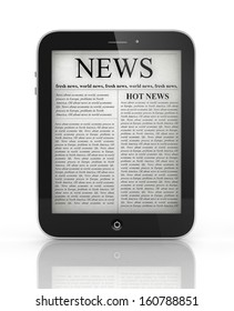 Business News on generic Tablet PC, isolated with reflection, 3d