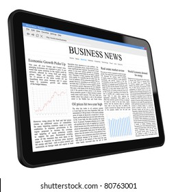 Business news on tablet pc. Include clipping path for tablet, screen and hand.