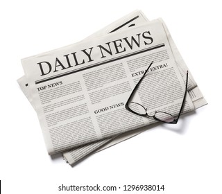Business Newspaper with glasses isolated on white background, Daily Newspaper mock-up concept