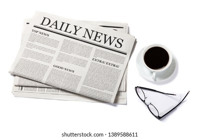 Business Newspaper with the headline News and glasses and coffee cup isolated on white background, Daily Newspaper mock-up concept