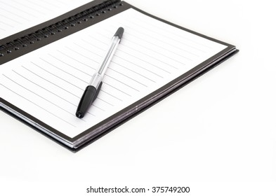 Business notebook and pen. Educational set