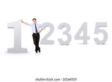 business number one man in front of other numbers isolated over a white background