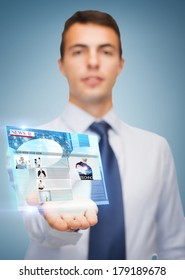 business and office, advertising, people concept - friendly young buisnessman showing something on the palm of his hand