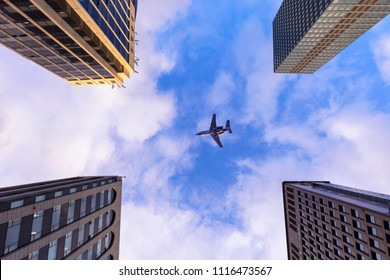 Business Office Building with Blue Sky and    Warplane