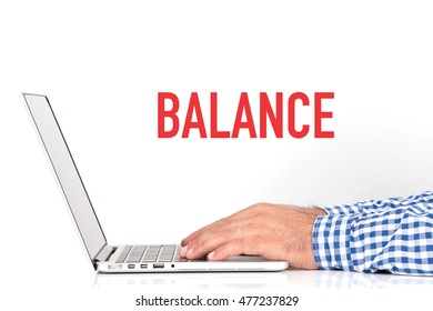 BUSINESS OFFICE BUSINESSMAN WORKING AND BALANCE CONCEPT