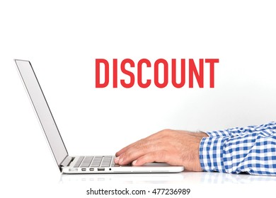 BUSINESS OFFICE BUSINESSMAN WORKING AND DISCOUNT CONCEPT