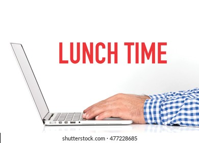 BUSINESS OFFICE BUSINESSMAN WORKING AND LUNCH TIME CONCEPT