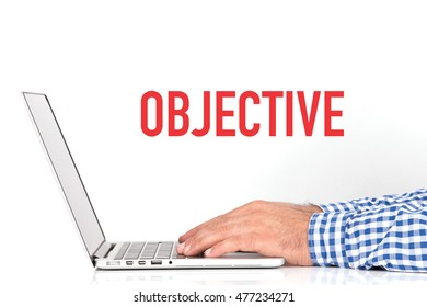 BUSINESS OFFICE BUSINESSMAN WORKING AND OBJECTIVE CONCEPT