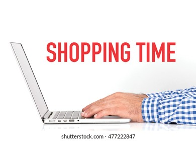 BUSINESS OFFICE BUSINESSMAN WORKING AND SHOPPING TIME CONCEPT