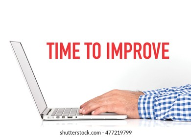 BUSINESS OFFICE BUSINESSMAN WORKING AND TIME TO IMPROVE CONCEPT