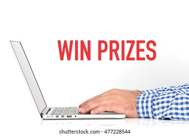 BUSINESS OFFICE BUSINESSMAN WORKING AND WIN PRIZES CONCEPT