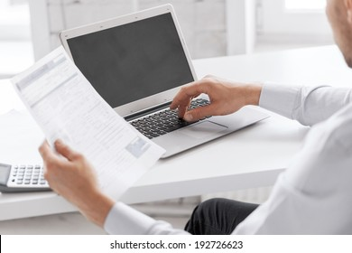 business and office concept - businessman working in office