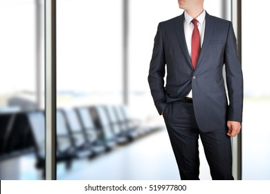 business and office concept -  elegant young fashion  business man in  a blue/navy suit