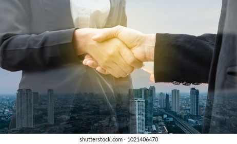 business and office concept - business Shake hands.