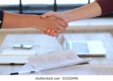 Business, office. Handshake for successful work
