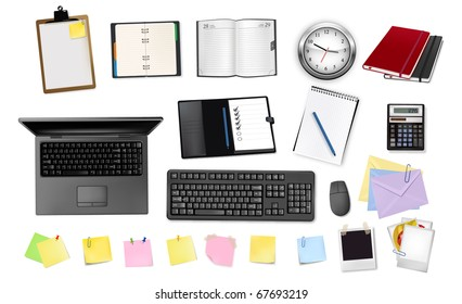 Business and office supplies. Raster version of vector.