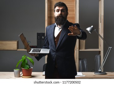 Business, office, warning, disagreeing, rejecting concept. Businessman rejecting an inappropriate proposal. Boss with serious face making stop sign. Agreement cancellation. Rejecting offer.Please wait
