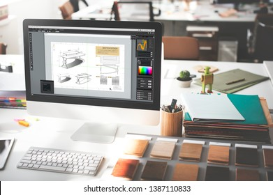 Business office workspace with computer