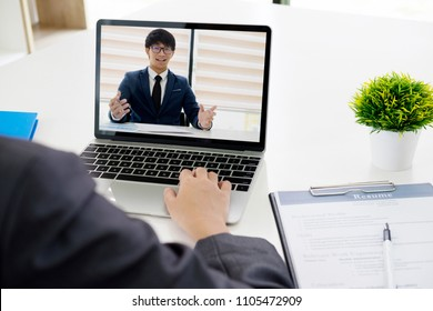 Business online concept. Online job interview. Businesspeople making video call for contacting client by conference, talking on webcam, online concultation.