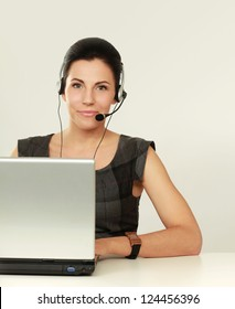 Business online customer service representative isolated over a white background