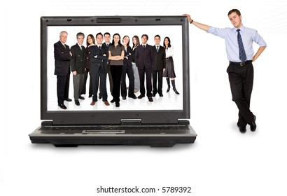 business online team in a laptop computer with a businessman next to it