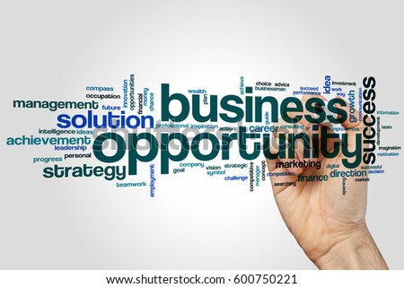 Business opportunity word cloud concept on grey background.