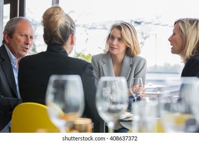 business partner having lunch