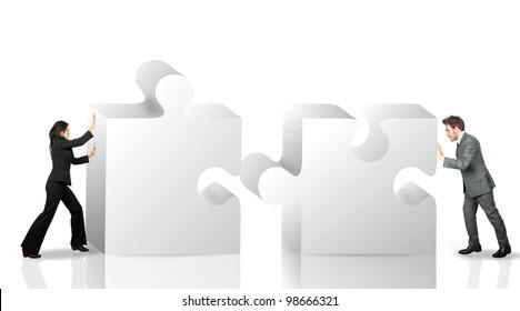 Business partner move puzzle pieces