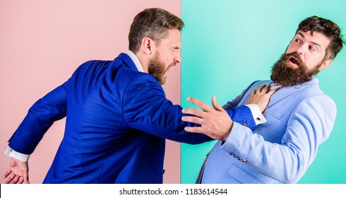 Business partners competitors office colleagues tense faces conflict situation. Business competition and confrontation. Domination and subordination. Hostile situation between opposing colleagues.