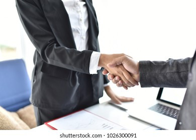 Business partners handshake in office Happy successful multiracial business team giving a high fives gesture as they laugh and cheer their success. Men and women work together To make a business succe