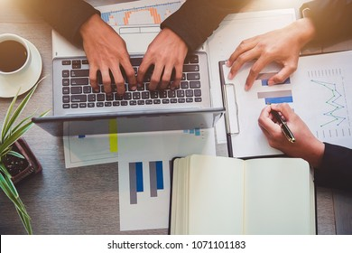 Business partners meeting design Ideas concept administrator business man financial inspector and secretary making report, calculating balance. Internal Revenue Service checking document.