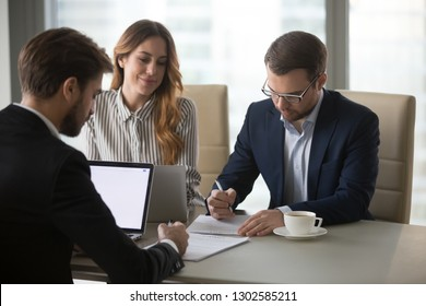 Business partners sign contracts after successful negotiations in office with lawyer mediating, businessmen write signature on legal documents papers make agreement at meeting, franchise concept