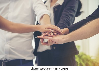 Business Partners Team meeting with  Successful Teamwork Hands Gesture. Hands stack group of people. Partnership Business Concept.