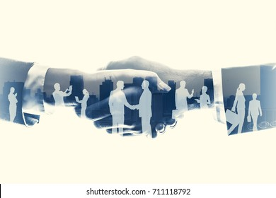 business partnership concept. Multiple exposure.