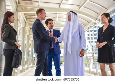 Business partnership for handshaking after meeting and agreement. Successful business, blurred background,partnership- concept