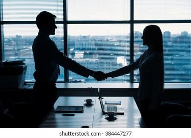 Business partnership of man and woman