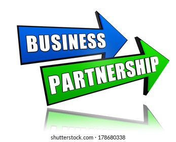 business partnership - text in 3d arrows, teamwork growth concept words