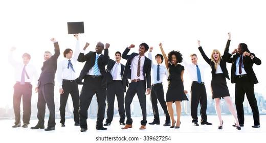 Business Peope Success Celebration Winning Concept