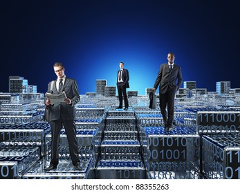 business people in 3d abstract world