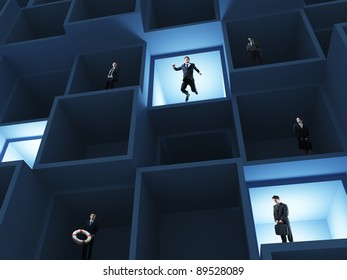 business people in 3d box