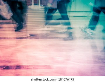 business people activity at big city abstract background. Blur motion.