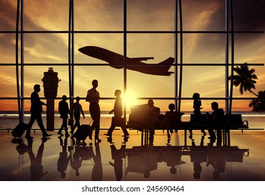 Business People Airport Beach Waiting Flight Corporate Concept