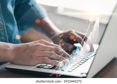 Business people analyze financial data chart trading forex, Investing in stock markets, funds and digital assets, Business finance technology and investment concept, Business finance background.