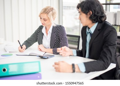 Business people are analyzing financial report