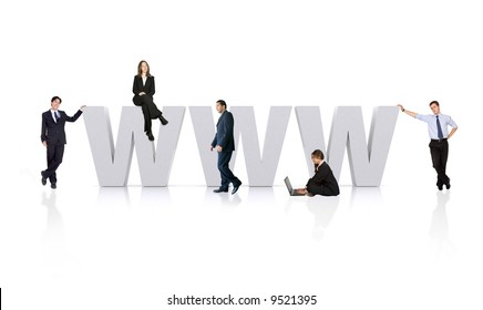 business people around the www - world wide web