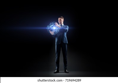 business, people, augmented reality and network concept - businessman working with virtual low poly projection over black background